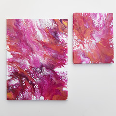 """""""Pink Marble Set"""" 40x30cm (12x16in) & 20x25cm (8x10in) Wall Art"""
