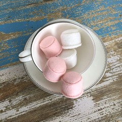Marshmallow felt food, play kitchen, pretend food, pure new wool felt
