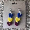 Custom heart drop dangles - polymer clay earrings