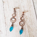 Copper Wire wrapped earrings with blue leaf drops - copper anniversary gift for