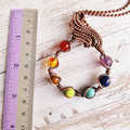 Chakra stone pendant necklace wrapped with natural copper