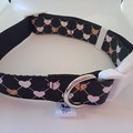 Black heart argyle style print adjustable dog collars medium / large