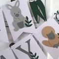 Australian Animal Happy Birthday Banner. Koala, Kangaroo, Wombat, Platypus.