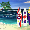 """Surfs Up"" Acrylic Painting Printed on Fine Art Paper"
