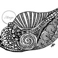 """""""Zen Tangle Shell""""  Watercolour Print"""