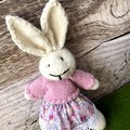 Lucy the Knitted Bunny Rabbit Toy with Pink Jumper and Floral Skirt