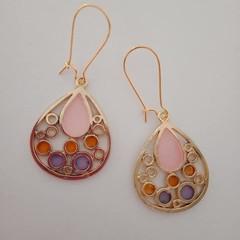Gold teardrop shape colored fashion earrings