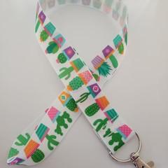 Bright cactus print lanyard / ID holder / badge holder