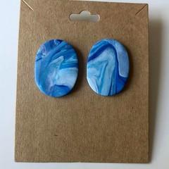 Blue ocean big studs - polymer clay earrings