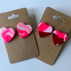 Heart stud packs - fluro pink and red