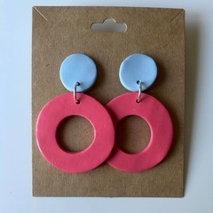 Pink and baby blue dangles - polymer clay earrings