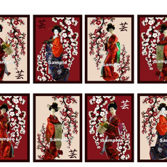 Japanese Geisha Dolls 8 x Gift Tag or Craft Card Image Scrapbook Birthday