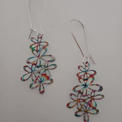 Silver plastic cut out multi-colored flower earrings