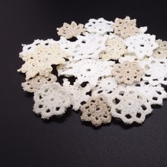 25 Vintage White Cream Beige Mix Cotton Applique Embellishments Scraps Crochet