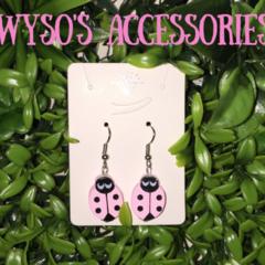 Lady Beetle Wooden Bead Earrings