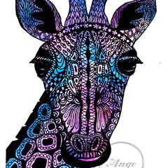 """Zen tangle Giraffe"" Watercolour Print"