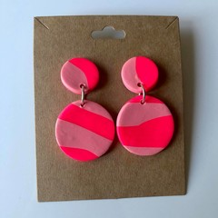 Pink zebra dangles - polymer clay earrings