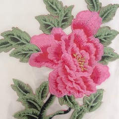 Pink Large Flower Iron On Applique