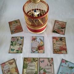 Vintage Look Bird Cage Flower 9 x Gift Tag Image - Craft Scrapbook Birthday