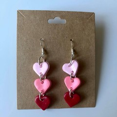 Chain of hearts dangles pink - polymer clay earrings