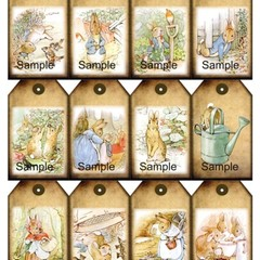 Peter Rabbit 12 x Gift Tags Set 2 - Baby Birthday Party Card Craft Scrapbook