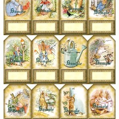 Peter Rabbit 12 x Gift Tags Set 3 - Baby Birthday Party Card Craft Scrapbook