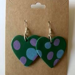 Green spotty love hearts - polymer clay earrings