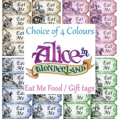 Alice in Wonderland 10 x Gift Tag Food Label - Eat Me - Party Wedding Birthday