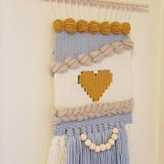 Medium hand woven wall hanging/weave - mustard heart