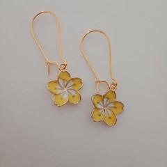 Gold and yellow frangipani / tropical earrings