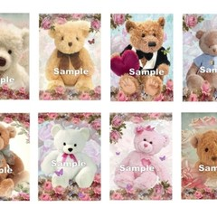 Cute Teddy Bears Butterflies 8 x Gift Tag Images Party BirthdayCard Craft
