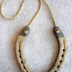 Upcycled, Authentic, Lucky Horseshoe. Gold/ Silver Glitter