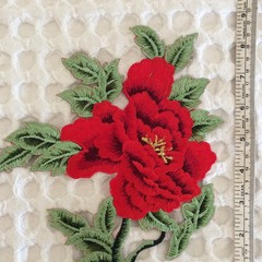 Red Large Flower Iron On Applique