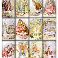 12 x Bunny Gift Tags Images - Peter RabbitBenjamin Bunny BabyCard Craft
