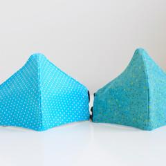 Polka dots blue   Reversible 3 layers Face Mask  Reusable Washable