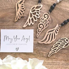 Howlite and Lava Essential Oil Diffuser Car Charm with Wooden Angel Wing Charm