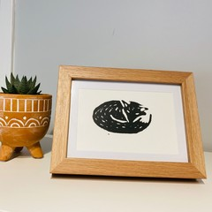 Hand Printed Linocut - Fox Design