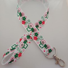 Pink and green tractor / farmer print lanyard / ID holder / badge holder