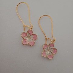 Gold and pink frangipani / tropical flower earrings