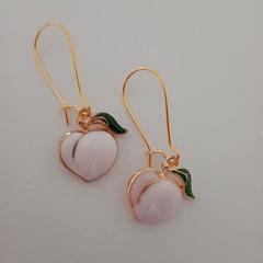 Peach charm earrings