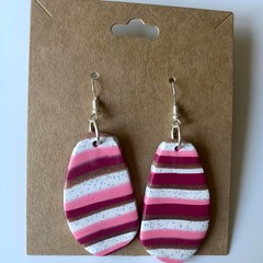 Candy stripe hooks - polymer clay earrings