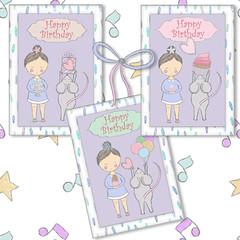 Girl Boy Mice Birthday Printables