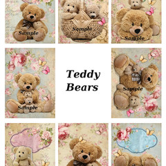 Cute Teddy Bears 8 x  Gift Tag Images Party Birthday CardCraft Scrapbook