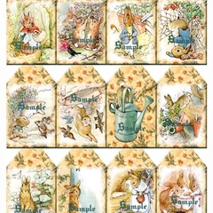 Peter Rabbit 12 x Gift Tags Set 1 - Baby Birthday Party Card Craft Scrapbook
