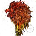 """""""Zen Tangle Lion"""" Watercolour Print"""