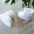 White Crochet Baby Booties Shoes Socks Pregnancy Announcement Baby Reveal