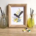 Willie Wagtail Australian Bird Art Print, Native Bird Art Prints, Wall art Left