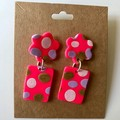 Pink, gold, white and lilac dangles - polymer clay earrings