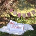 Pink Floral Name Cushion & Bunting Gift Set