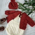 Cream Hand Crocheted Newborn Bobble Baby Romper